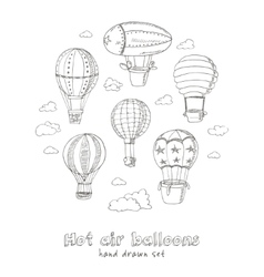 Hot air balloons doodle set vintage vector