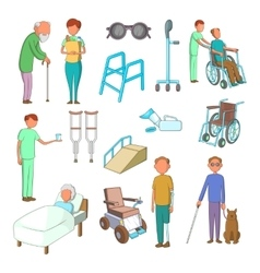 Disability people care icons set cartoon style vector
