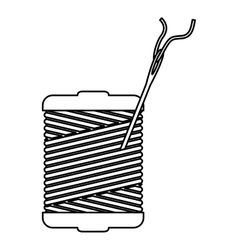 Monochrome contour with thread spool and sewing vector