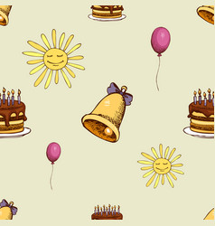 pattern with sun bell and cake vector image