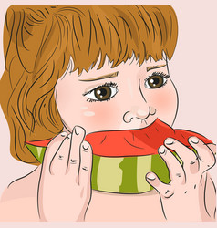 child eating watermelon vector image