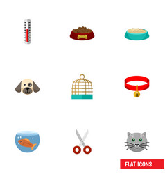 Flat icon pets set of kitty temperature vector