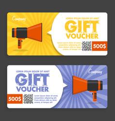Gift voucher flat design announcement vector