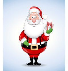 Happy cartoon santa claus holding a gift vector
