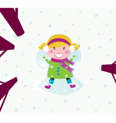 Christmas happy girl in snow vector