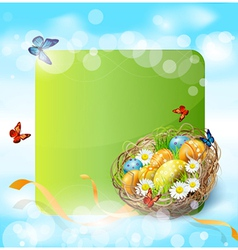 background with Easter nest and eggs vector image
