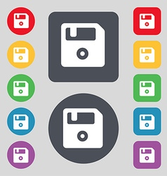 Floppy icon sign a set of 12 colored buttons flat vector