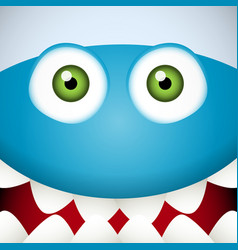 Blue Monster face vector image