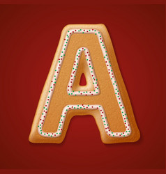Christmas gingerbread cookies alphabet vector