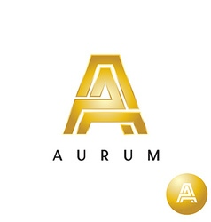 Letter a golden style wide lines logo vector