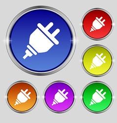 plug icon sign Round symbol on bright colourful vector image