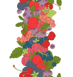 Berries mix seamless border frame of cherry vector