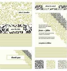 Floral invite stationary vector image