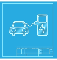 Electric car battery charging sign white section vector