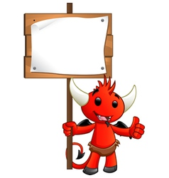 Devil character holding a sign vector
