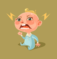 Angry unhappy naughty little child character vector