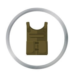 Army bulletproof vest icon in cartoon style vector