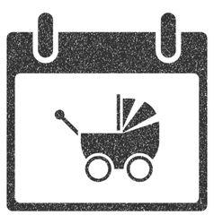 Baby carriage calendar day grainy texture icon vector