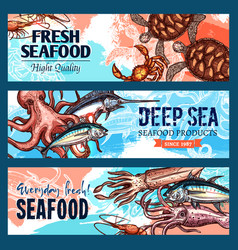 banners seafood market or fish restaurant vector image vector image