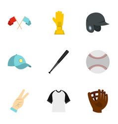 baseball equipment icons set flat style vector image vector image
