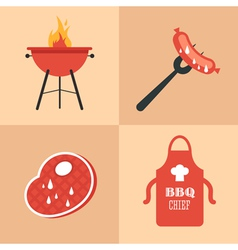 BBQ icons set vector image