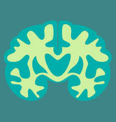 brain in flat monochrome color on white background vector image