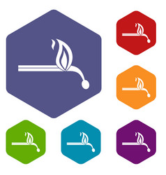 burning match icons set hexagon vector image vector image