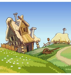 cartoon village houses vector image vector image