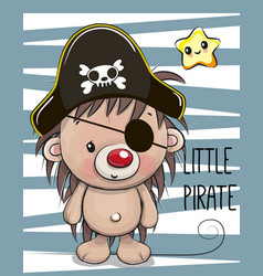 Cute hedgehog in a pirate hat vector