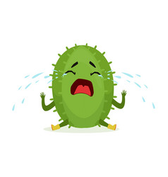 cute upset cactus sitting on the floor and crying vector image vector image