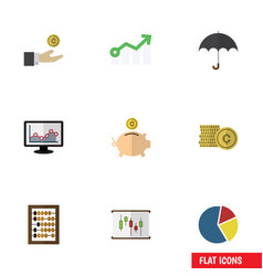 Flat icon incoming set of growth parasol counter vector