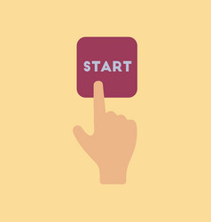 Flat icon on stylish background hand button start vector
