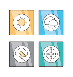 flat line set icon weather vector image