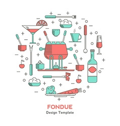 Fondue icons in the form of a circle vector