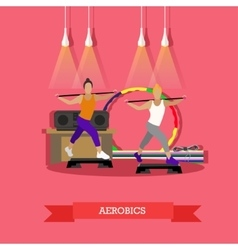 Girl aerobics in fitness studio flat design vector