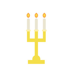 Golden candlestick with three burning candles vector