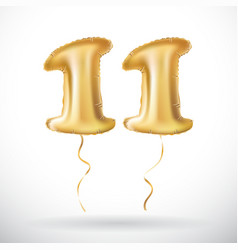 Golden number 11 balloon decoration for eleven vector