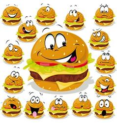 Hamburger cartoon with many expressions vector