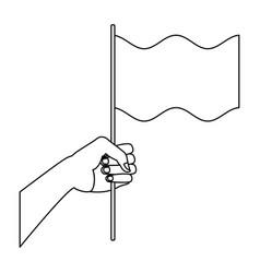 hand waving a white flag peace symbol vector image