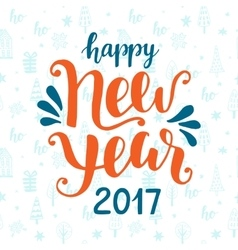 Happy New Year 2017 hand drawn greeting card vector image vector image