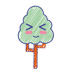 Kawaii cute funny tree ecology vector