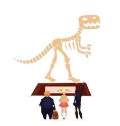 Kids in museum looking at dinosaur skeleton vector