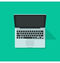 Laptop isolated on green background vector image