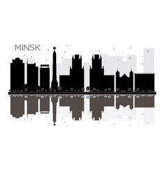 minsk city skyline black and white silhouette vector image vector image