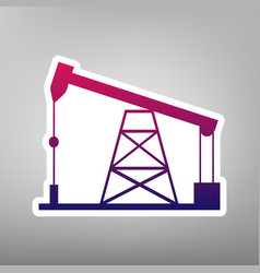 Oil drilling rig sign purple gradient vector