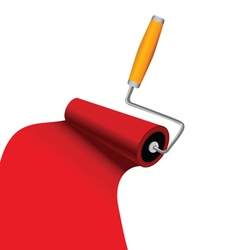 Paint roller with red trace vector