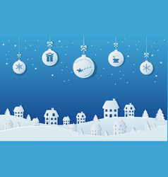 paper art concept of christmas balls hanging vector image