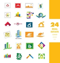 Real estate company logo set vector