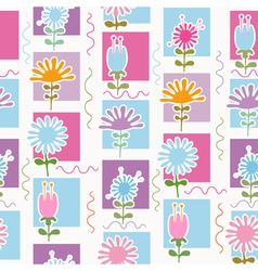 Retro flowers seamless pattern vector