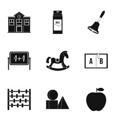 School icons set simple style vector